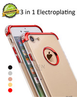 Wholesale Air Water Quality - Premium Quality 3 in 1 Electroplating Shockproof Air Cushion Transparent TPU + PC Case Back Cover for iPhone X 8 7 6S 6 Plus