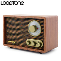 ingrosso costruzione dei bassi-LoopTone da tavolo AM / FM Radio Bluetooth Vintage Retro Classic Radio W / Altoparlante incorporato TrebleBass Control Legno lavorato a mano