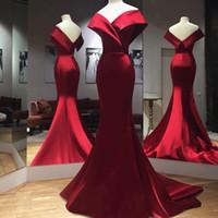 elegantes reizvolles langes kleid jersey großhandel-Red Mermaid Abendkleider Elegant Off Shoulder Long Sweep Zug Günstige 2019 Promi Party Formale Kleider 2019 Abendkleid Plus Größe