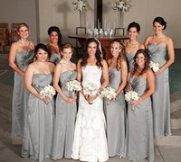 Wholesale bridesmaid dresses wholesalers - Cheap silver bridesmaid dresses long Country handmade flowers sweetheart gray floor length sleeveless vintage Party Maid of Honor Gowns