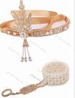 büyük gatsby kılı toptan satış-1920 s Sineklik Great Gatsby Tiara Taçlar Gelin Saç takı Düğün Kafa vintage saç aksesuarları coroa noiva kafa zinciri