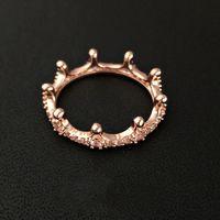 ingrosso anelli per argento sterling-Anello di corona placcato oro rosa nuovo di zecca 18 carati con diamante originale CZ per gli anelli di gioielli in argento sterling 925 per le donne