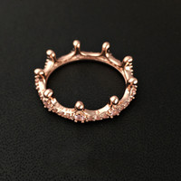 925 anneaux achat en gros de-Brand New 18K Rose plaqué or Couronne Bague avec CZ Diamant Original boîte cadeau pour Pandora 925 Bijoux En Argent Sterling Anneaux pour Femmes