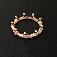 elmas hediye kutuları toptan satış-Yepyeni 18 K Rose Gold kaplama Taç Yüzük CZ Elmas ile Orijinal Hediye kutusu Pandora 925 Gümüş Takı Yüzükler Kadınlar için