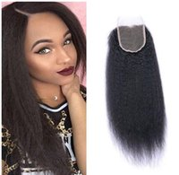 Wholesale afro curly weave human hair resale online - 8A Peruvian Kinky Straight Wave x4 Lace Closure Brazilian Afro Kinky Straight Wave Hair Weave Human Hair Extensions