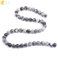 Wholesale black findings jewelry for sale - Group buy CSJA mm Black Network Stone Zebra Strip Natural Stone Loose Bead Necklace Bracelet Jewelry Handmade Craft Finding Gift for Men Women F230 B