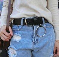 schwarzer pu runder gürtel großhandel-Harajuku Round Metal Circle Gürtel Fashion Unisex Schwarz PU Leder Punk Taille Gürtel Freizeit Jeans Taille Gürtel für Frauen Zubehör