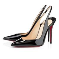 siyah patent ön plana çıktı toptan satış-Ücretsiz kargo Moda kadınlar Klasik Siyah çıplak kırmızı patent noktası toe düğün ayakkabı yüksek topuklu ince topuklu ayakkabılar ...