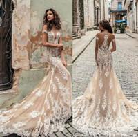 Wholesale julie vino - Champagne Julie Vino Wedding Dresses 2018 Off Shoulder Deep Plunging Neckline Bridal Gowns Sweep Train Lace Wedding Dress Custom Made