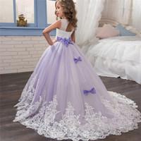kostüm düğün önlükleri toptan satış-Çocuk Kız Çiçek Dantel Elbiseler Prenses Düğün Uzun Çocuklar Için Firar Elbise Doğum Günü Partisi Communion Kostüm Pageant Elbisesi