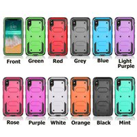 Wholesale hard holster - 3 in 1 Clip Belt Kickstand Case Heavy Shockproof Armor Hybrid Hard Holster Cases Cover For iPhone X 5 6 7 Samsung Galaxy S7 S8 S9 Plus