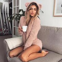 macacões de lã adulto venda por atacado-HKSNG Inverno Mulheres Quente Rosa Com Capuz Orelha de Coelho Velo Onesie Veludo Bonito Plus Size Macacão Homewear Pijamas Para Adultos