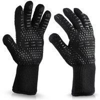 Wholesale kitchen finger gloves for sale - Group buy Heat Resistant Silicone Oven Gloves Anti Skid Elasticity BBQ Grill Long Five Fingers Glove Resuable Fire Prevention Kitchen Tools lc BB