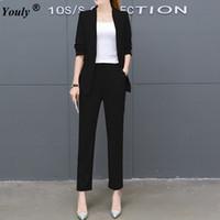 iş için resmi blazerler toptan satış-Pant Suit Kadın Casual Ofis Iş Takım Elbise Resmi Çalışma Setleri 2017 sonbahar Zarif Ofis Kadın Blazer Pantolon Iki parçalı set