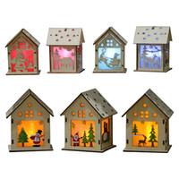 Wholesale lamp c resale online - Led Light Christmas Pendant Cartoon Santa Claus Wood House Lamp Party Decoration DIY Gift Many Styles yh C