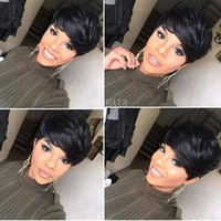 machines for hair Australia - New arrival Celebrity wig pixie Cut short human hair machine made lace front wigs brazilian straight human hair ladies wigs for black women