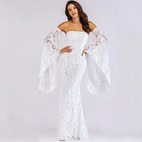 enveloppe soirée blanche achat en gros de-Sexy Blanc Dentelle Robe Bretelles Flare Manches Hors Épaule Moulante Faux Wrap Vestidos Soirée Automne Maxi Robes