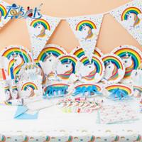 Wholesale unicorn party supplies online - Cartoon Unicorn Theme Tableware Children Birthday Party Wedding Supplies Decorations Set Supplies Unicornio Props Hot Sale kk XZ