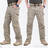 pantalones de trekking tácticos al por mayor-Algodón Spandex Hecho Elástico IX9 Pantalones de combate Pantalones de senderismo al aire libre Hombres Pantalones de carga Pantalones casuales de estilo táctico