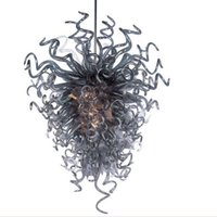 araña de cristal negro moderno al por mayor-Arte Murano soplado a mano la lámpara de cristal de estilo italiano moderno Deco Negro de cristal estilo de la lámpara con bombillas LED