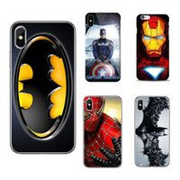 Wholesale Iphone Superhero Cases - Ironman Marvel Avengers Superhero Hard Phone Case for iPhone X 8 7 6s 6 Plus SE S9 S8 fundas Cover Batman Hull Spiderman Shell GSZ413