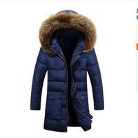 puff abrigo de piel al por mayor-2018 chaqueta de hojaldre de invierno para hombre abrigo grueso cálido cuello de piel ocasional largo abrigo grueso parkas hombres a prueba de viento con capucha prendas de abrigo para hombre parkas