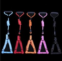 Wholesale big dog leashes - Soft Adjustable Dog Harness Vest Collar Big Dog Rope Collar Hand Strap Pet Traction Rope for Small Medium Large Dogs