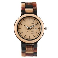 Wholesale wood timbers - Summer Warm Color Wooden Men Wrist Watch Creative Lovely Bamboo Wood Quartz Watches Fold Clasp Timber Watch Band Bangle Clock