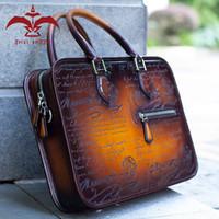 compartimientos maletín al por mayor-Bolsa de honor de los hombres! 1 maletín de cuero genuino de la pátina de la vaca de la PC 100 para los hombres, compartimiento del doble del bolso 39x7x28 CM del diseñador