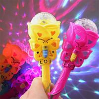 Wholesale small toys lighting for sale - Flashing Music Magic Wand Revolving Children Toys Colorful Small Size Light Sticks Babysbreath Projection Direct Deal yy W