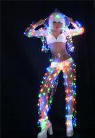 kadınlar için hazır giyim toptan satış-Kadın Renk LED ışıkları Performans giysileri Müzik Festivali Şarkıcı Dans Ekibi DJ Disko dans Kostüm Seksi LED Perspektif Set