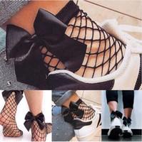 çorap çorabı toptan satış-Yay ile ilmek çorap fishnet yeni moda düşük oymak popüler soxs popüler şık ince yay punk serin mesh kısa çorap örgü çorap
