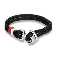 Wholesale rhodium hooks resale online - High Quality Anchor Bracelets Men Charm Nautical Survival Rope Chain Paracord Bracelet Male Wrap Metal Sport Hooks