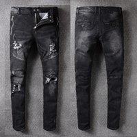 Wholesale Vintage Mens Plaid Pants - Men's Distressed Ripped Skinny Biker Zipper Jeans US Size VINTAGE Brand Designer Slim Mens Motorcycle Moto Denim Hip Hop Pant For Men 975