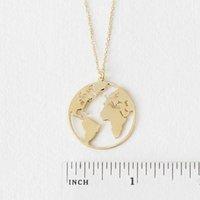 ingrosso globo argento collana-10 pz Unique Circle Outline World Map Globe ciondolo collana oro / argento piatto gioielli regalo continente per amico