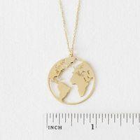círculos de oro planas al por mayor-10 unids Unique Circle Outline World Map globo colgante, collar de oro / plata plana continente regalo de la joyería para el amigo