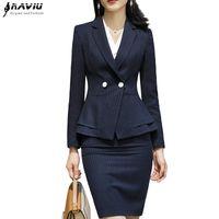 4d08959795b3 New fashion women skirt suits OL formal elegant long sleeve slim dot blazer  and skirt office ladies plus size Business work wear