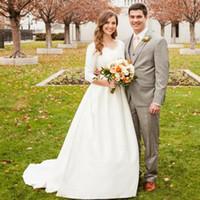 Wholesale New Hot Elegant Bridal Gown - 2018 Hot Selling New Vintage Wedding Dresses White Ivory Elegant V-Neck Sweep Train 3 4 Long Sleeve Classical Bridal Gowns Vestido De Noiva