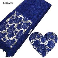 cordon africain dentelle bleue achat en gros de-Cordon Africain Dentelle Tissu Coton Bleu Vert Or Gris Tissu À Coudre Matériel Nigérian De Mode Robe De Mariée Gurpure Mesh Swiss Lace Tissu 5Y