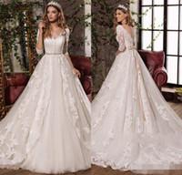Wholesale modern wedding dress red bow for sale - 2018 New Design Sexy V Neck Elegant Bow Princess Wedding Dresses Gorgeous Appliques Vestido De Noiva Half Sleeves Hot Sale
