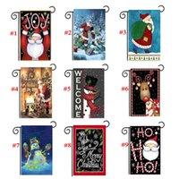 cadılar bayram dekorasyonları açık havada toptan satış-Noel Bahçe Bayrakları 30 * 45 cm Açık Asılı Polyester Noel Baba Noel Afiş Cadılar Bayramı Partisi Ev Dekorasyon