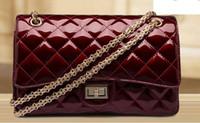 ingrosso borse borgogne-Classico design di lusso di lusso in vera pelle lucida perla color borgogna donne catena tracolla Messenger Cross Body Bag