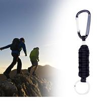 Wholesale Paracord Survival Keychain - Woven Paracord Lanyard Keychain Survival Tools 7 Strand Parachute Cord Lanyard Keychain Carabiner Hook Kits Outdoor Gadgets 30PCS GGA95