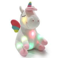 juguetes de peluche de pie al por mayor-LED Light Up Unicorn Stuffed Animal Toys Navidad Cumpleaños Día de San Valentín Regalos para niños de dibujos animados unicornio juguete 30 cm MMA761