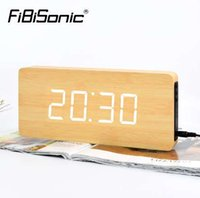 calendrier d'horloges modernes achat en gros de-FiBiSnonic Horloge Murale Design Moderne LED Numérique Montre Calendrier Calendrier Température Décor À La Maison Nixie Horloges