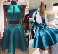 Wholesale white halter shorts for sale - Group buy Cute Two Piece Short Homecoming Dresses Halter Satin Backless Prom Dresses Lovely Party Dresses Keyhole Back With Bow