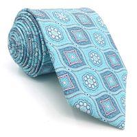 geometrische marken krawatten großhandel-D3 Azure Geometric Herren Krawatte Seide Brand New Fashion Extra lange Größe 63
