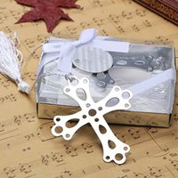 Wholesale bookmark cross - 100pcs Cross Bookmarks For Baptism Birthday First Communion Party Favors Gifts For Guests Stainless Metal Baptism Gift 7x6cm