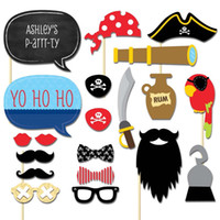 Wholesale photo props kit - Meidding 20pcs  Set 2018 Pirates Styles Photo Booth Props Funny Mustache Glasses Diy Kits Lips Birthday Party Decoration Supplies