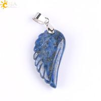 bijoux à papillon achat en gros de-CSJA ange aile pendentif sculpté plume pierre naturelle améthyste lapis lazuli papillon cristal pierres précieuses hommes femmes amour bijoux à la main e768 un